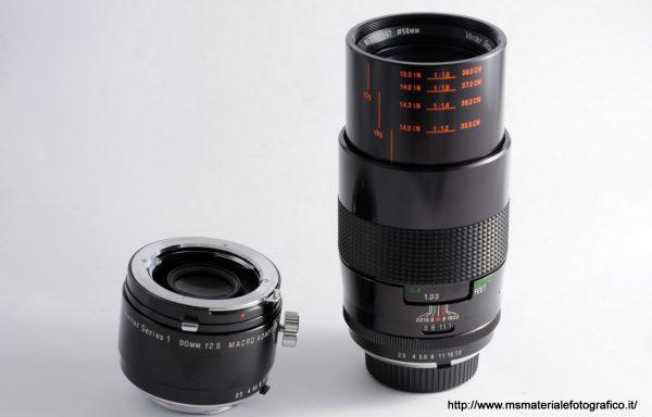 Obiettivo Vivitar 90mm f/2,5 per Minolta + Macro Adapter
