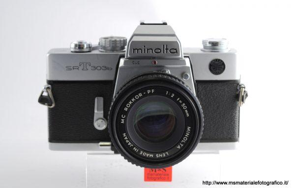 Kit Fotocamera Minolta SR T 303b + Obiettivo Minolta MC Rokkor-PF 50mm f/2