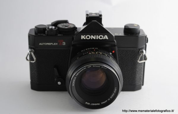 Kit Fotocamera Konica Autoreflex T3 + Obiettivo Konica Hexanon AR 50mm f/1,7